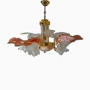 Vintage Italian Gold Plated Chandelier from Murano, 1980s
