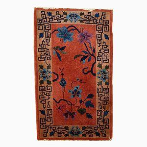 Art Deco Chinese Brick Red Handmade Rug, 1920s