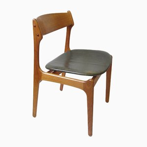 Vintage Teak Dining Chair with Genuine Leather by Erik Buch for O.D. Møbler, 1957