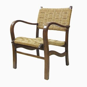 Oak Armchair with Wicker Seat and Backrest, 1930s