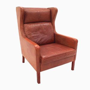 Danish Tan Leather Highback Armchair from Stouby, 1960s