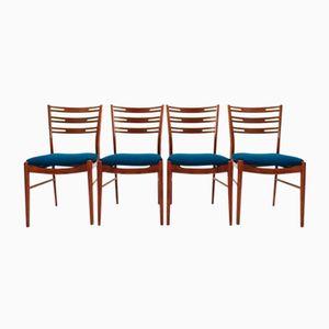 Chaises de Salon en Teck et Laine Bleue de Farstrup, 1960s, Set de 4