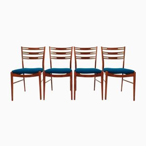 Danish Teak & Blue Wool Dining Chairs from Farstrup, 1960s, Set of 4