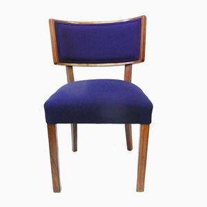 Austrian Walnut Chair in Dark Blue Wool, 1930s
