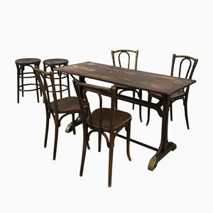 Tavolo da cucina e sedie di Baumann, anni '30, set di 7