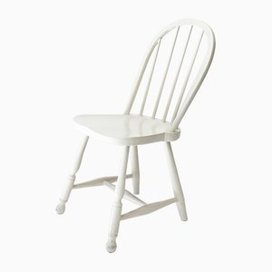 Österreichischer Weißer Vintage Stuhl mit Holzsprossen von Thonet