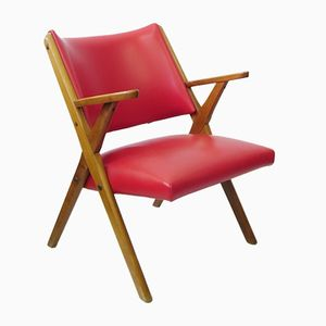 Vintage Italian Armchair in Red Leatherette from Dal Vera SBA