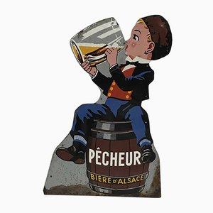 Vintage Bier Werbeschild von Alsace Pécheur