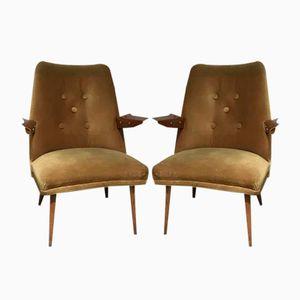 Vintage Armchairs in Velvet, 1960s, Set of 2