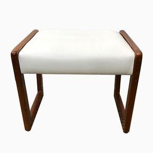 Mid-Century White Vinyl Dressing Table Stool