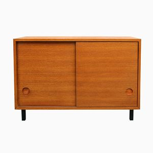 Teak Veneered Sideboard with Sliding Doors, 1960s