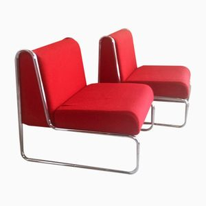 Bright Red Italian Lounge Chairs with Tubular Chrome Frames, 1960s, Set of 2