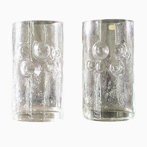 Tschechoslowakische Vintage Glasblasen Vasen von Bohemia Glass, 2er Set