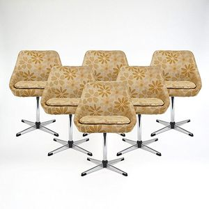 Metal Framed Swivel Chairs, 1960s, Set of 6