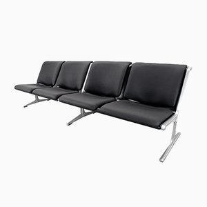 German 1300 Faux Leather Bench by Friso Kramer for Wilkhahn, 1967