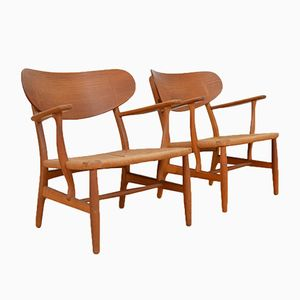 Mid-Century CH22 Lounge Chairs by Hans J. Wegner for Carl Hansen, Set of 2