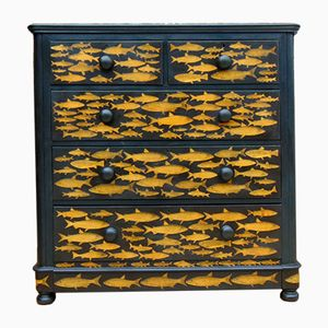 Antique Chest of Drawers with Fish Pattern