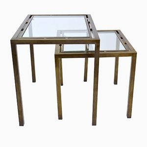 Vintage French Brass Nesting Tables