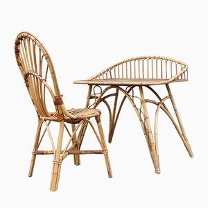 Rattan Schreibtisch und Stuhl, 1950er