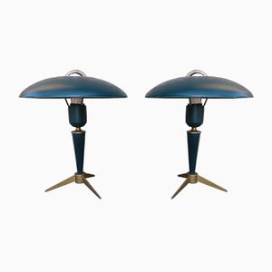 Mid-Century Tripod Green Table Lamps by Louis Kalff for Philips, Set of 2