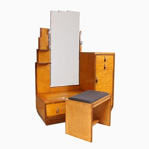 Art Deco Karelian Birch Dressing Table & Stool, 1930s