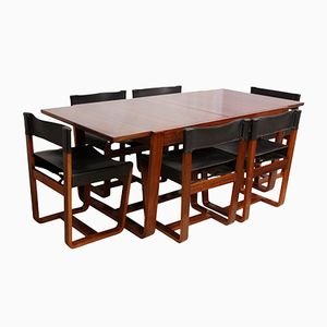 Mid-Century Modern Rosewood Dining Table and Chairs by Gunther Hoffstead for Uniflex, 1960s