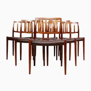 Vintage Modell 79 Palisander Esszimmerstühle von Niel Otto Møller, 8er Set
