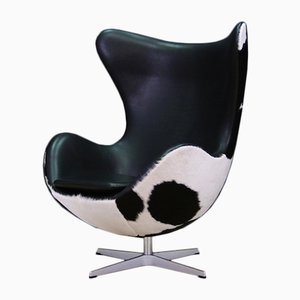 Vintage Danish Cow Leather Egg Chair by Arne Jacobsen for Fritz Hansen, 1980s