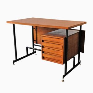 Mid-Century Italian Iron and Wood Desk, 1950s