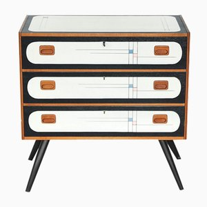 Danish Teak Chest of Drawers with Pattern, 1960s