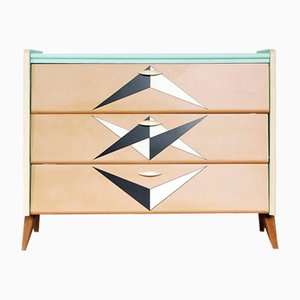 German Patterned Mint Shoe Cabinet with Boomerang Legs, 1965