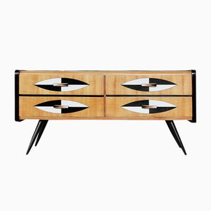 Swedish Low Sideboard with Patterned Drawers and Glass Top, 1960s