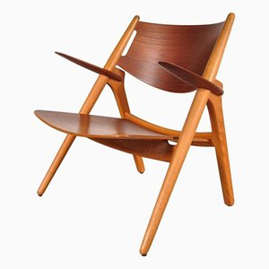 Mid-Century Sawbuck Easy Chair by Hans J. Wegner for Carl Hansen & Son