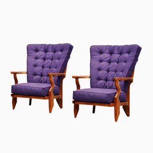 Mid-Century French Lounge Chairs by Guillerme et Chambron, Set of 2