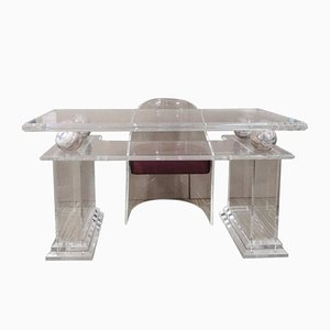 Mid-Century Lucite Writing Table and Chair, Set of 2