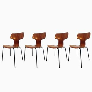 3103 Hammerhead Chairs by Arne Jacobsen for Fritz Hansen, 1971, Set of 4