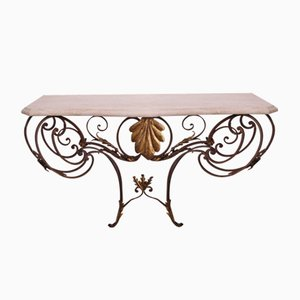 Mid-Century Italian Wrought Iron, Gilt, and Marble Console Table