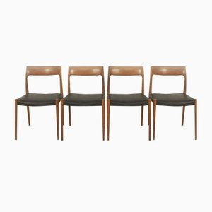 Teak Chair No. 77 by Niels Moller for J.L Mollers, 1960s, Set of 4