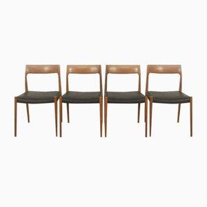 Teak Stuhl Nr. 77 von Niels Moller für J.L Mollers, 1960er, 4er Set