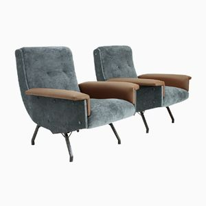 Mid-Century Italian Armchair with Skai Armrests, 1950s, Set of 2