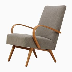Beech Bentwood Lounge Chair from TON, 1960s