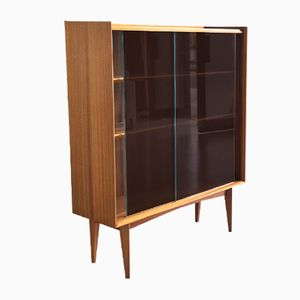 Mid-Century British Teak Bookcase with Glass Doors, 1960s