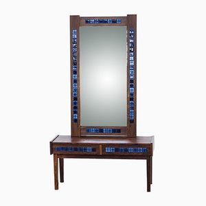 Vintage Rosewood Framed Mirror & Drawer Console