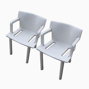 Weiße Stühle von Anna Castelli Ferrieri für Kartell, 1980er, 2er Set