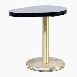 French Drop-Shaped Side Table with Brass Foot from Caddis, 1970s