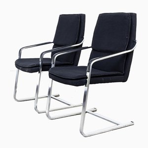 Vintage Chrome & Black Fabric Chairs from Walter Knoll, Set of 2