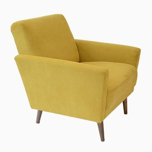 Square East German Armchair with Yellow Fabric
