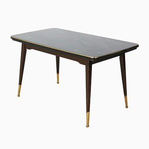 Extendable and Height-Adjustable Table with Glass Top, 1950s