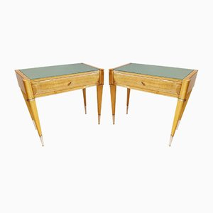 Tables de Chevet Mid-Century en Erable et Bouleau, Italie, Set de 2