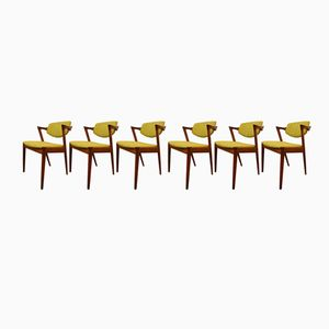 Vintage Model 42 Dining Chairs by Kai Kristiansen for Schou Anderson, Set of 6